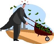 2013-06-28 Man pushing wheel barrow filled with money