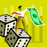 2014-08-22 Man with Dollar bill and dice