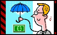 2014-09-05 Man with umbrella dollar bill