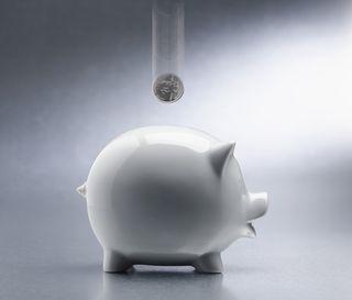 2013-09-27 Coin dropping into piggy bank